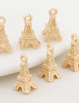 10 Pcs 24K Gold Plated Eiffel Tower Pendant Brass Spacer Beads Caps Connector