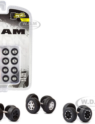 """""""RAM Trucks"""" Wheels and Tires Multipack Set of 24 pieces """"Wheel & Tire Packs"""" Series 4 1/64 by Greenlight"""